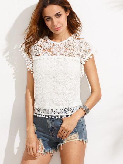 Белая кружевная блуза с бахромой