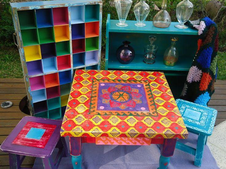 Mesa ratona pintada a mano muebles hogar pinterest mesas for Mesa ratona