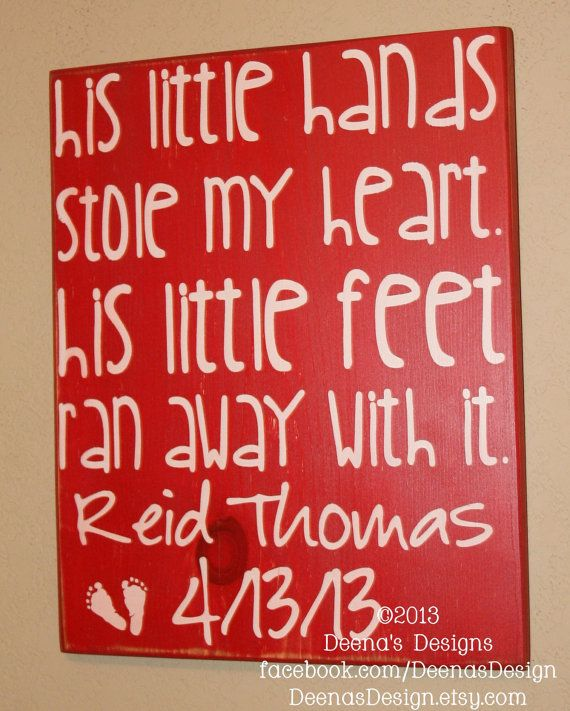 Baby Boy Nursery Decor, Nursery Wall Decor, Nursery Art, Baby Boy Gift - His Little Hands Stole My Heart - Personalized