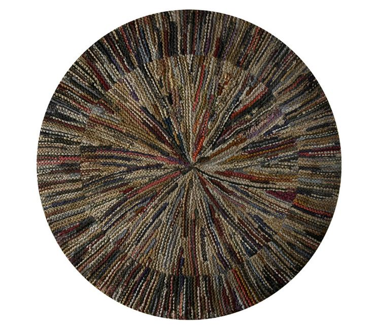 "Shaker Rug - Starburst crocheted rug, cotton and wool with radiating center, 6"" striped linear border, stretched and mounted for wall display, c. 1900, 44"" dia."