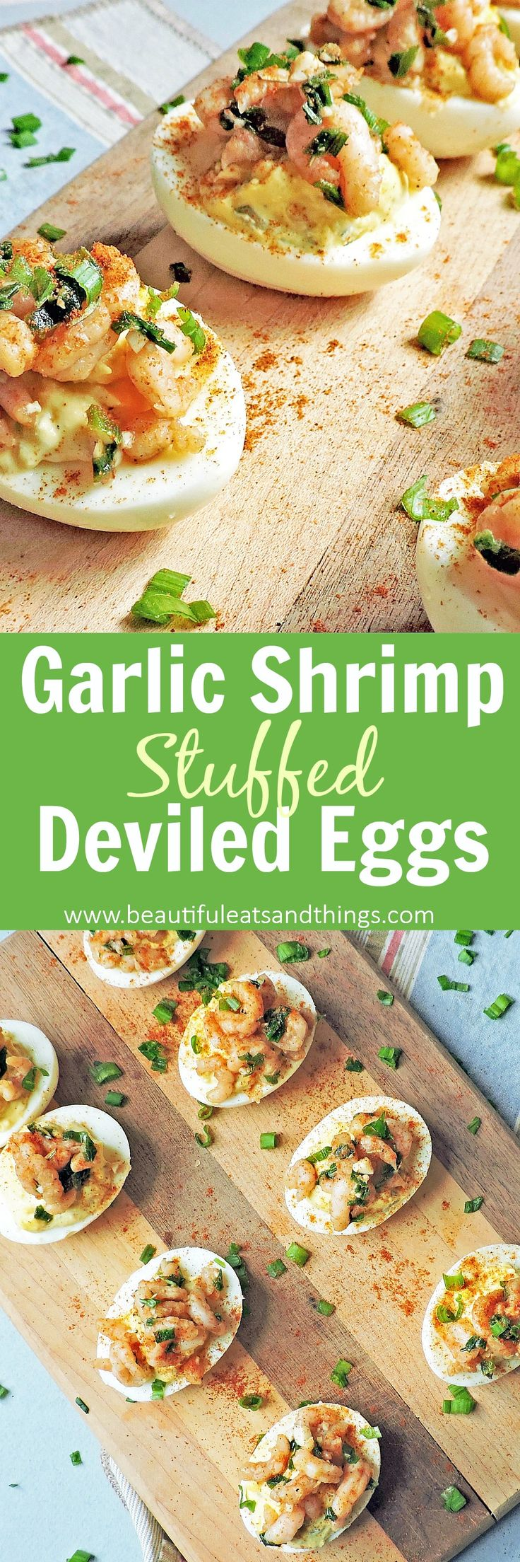 These Garlic Shrimp Stuffed Deviled Eggs are the perfect appetizer! So far from the average deviled egg! Your taste buds will thank you!  deviled eggs | stuffed deviled eggs | deviled egg recipes | healthy appetizers | appetizers | keto | low carb