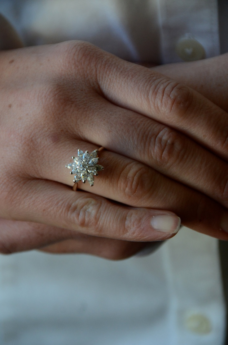 Cubic Zirconia Ring Engagement Ring Vintage gold flower star shape. $60.00, via Etsy.