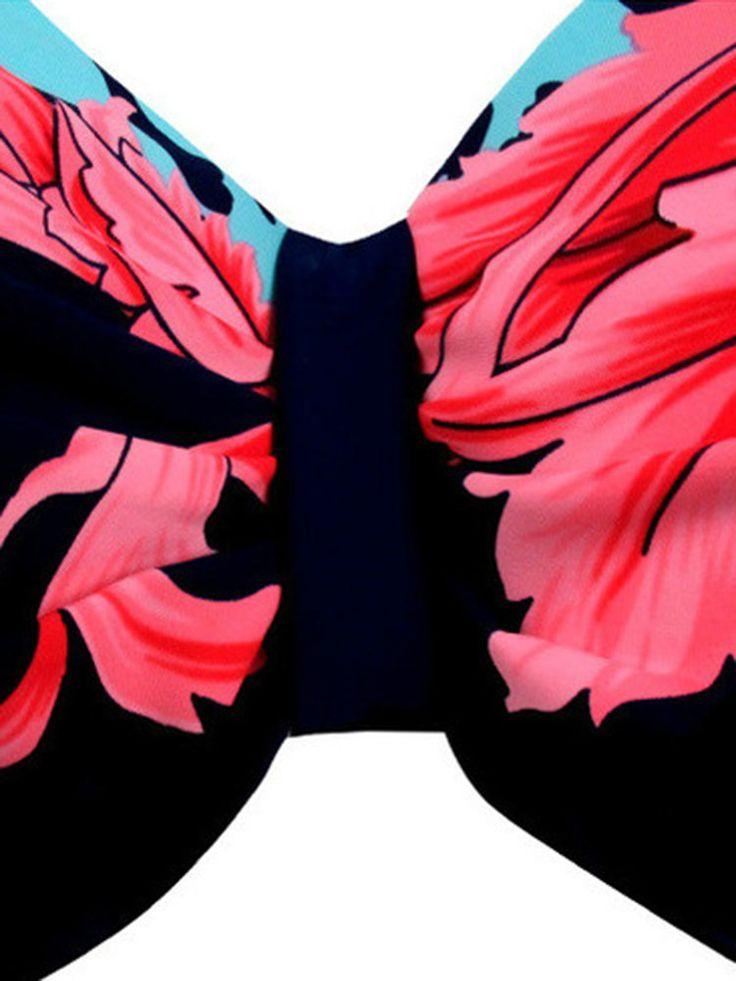 XL-4XL Woman Tracy Push Up Backless Printing Bowknot Underwire Gather Bikini at Banggood