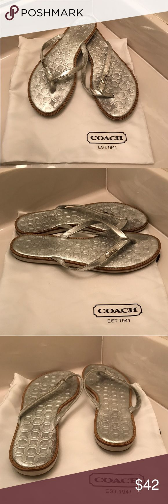 Coach Authentic Devlynn Silver Metallic Flip Lops Coach Authentic Devlynn Silver Metallic Flip Lops Size 7. This adorable flip flop is perfect to wear with almost anything. GUC light wear. 🚫🚫Trades, paypal, any questions in the comments regarding price please use the offer button or they will be ignored🚫🚫 Coach Shoes Sandals
