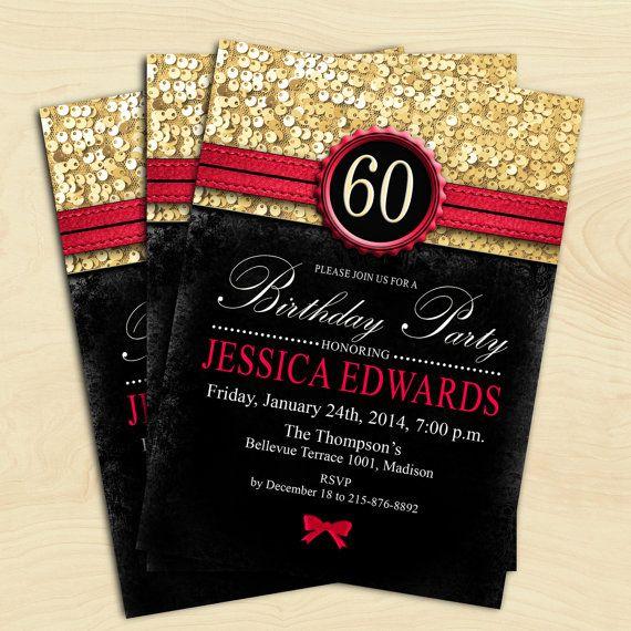 women birthday invitation  any age black red gold digital printable invitation customized