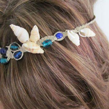 Blue Mermaid Macrame Headband with Shells by TheHempChick on Etsy