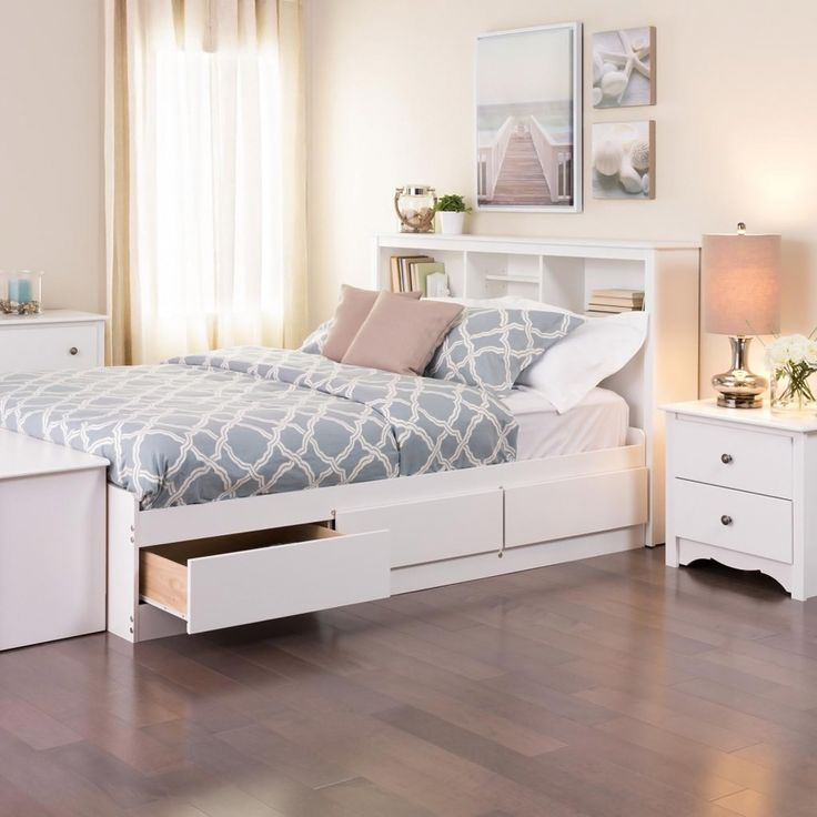 prepac winslow white fulldouble platform storage bed - Full White Bed Frame