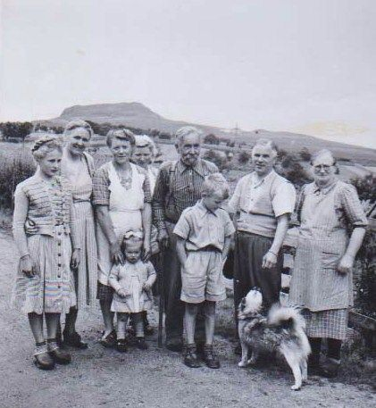 Mum, the little girl in front,  family and friends ap. 1950