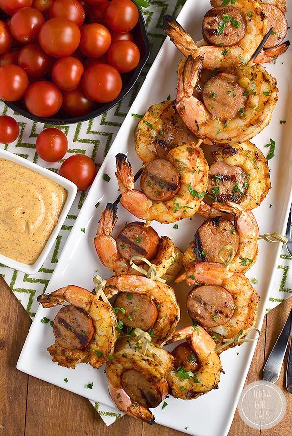 Spicy Shrimp and Sausage Skewers are spicy and savory – they'll fly off the platter! | iowagirleats.com