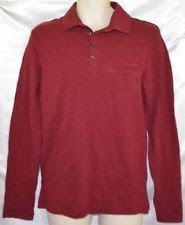 NEW Mossimo Heather Red Maroon Long Sleeve Polo Shirt Men size S Collared Cotton