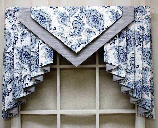 Nottingham Valance with Jabots in Velotti Porcelain fabric and Tussah River Rock contrast fabric.