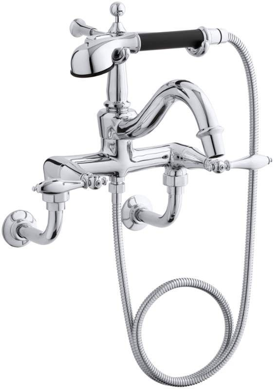 Kohler K-331-4M Double Handle Roman Tub Faucet with Metal Lever Handles and