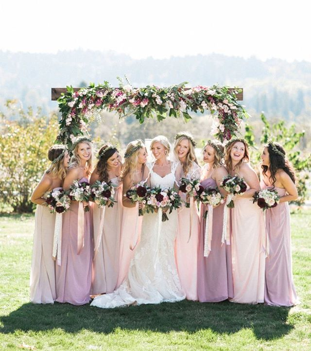Tag your squad if you can't wait for them to stand by you on your big day!   Photography: @sweetlifephoto.jake, @sweetlifephoto.anna   Cinematography: @candy_glass_productions   Coordination: @j29events   Floral Design: @swoon_floraldesign   Bridesmaid Dresses: @davidsbridal   Bridesmaids' Flower Crowns: @heirbloom.floral   Venue: The Long Farm Barn   Film Processing: @thefindlab   Bride: @heirbloom.floral