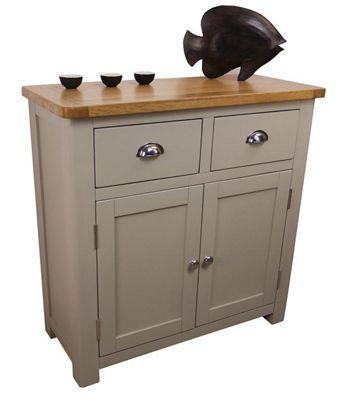 Image of Aspen Painted Sage Grey Small Oak Sideboard / Oak 2 Door 2 Drawer Sideboard