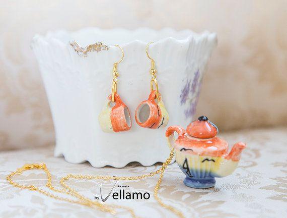 Cute shabby chic jewelry set, miniature teacup earrings, teapot pendant, tropical design, miniature porcelain golden miniature tea cups