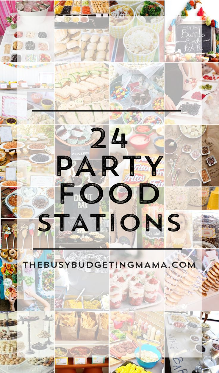 There are so many different fun bar and station ideas. Here's a round up of 25 fantastic ones!  These would be great for any type of party. Everyone loves to be able to feed themselves  and they can be a fun conversation starter for guests!