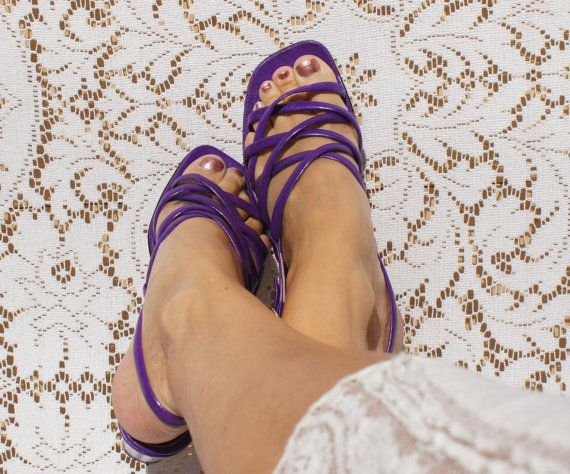 Purple Strappy Mod Sandals by StarShineVintage on Etsy