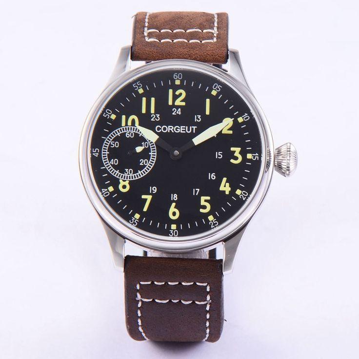 89.00$  Buy here - 44mm Corgeut Black Dial Luminous 6497 Hand Winding Movement ST3600 Watch E2002B  #bestbuy