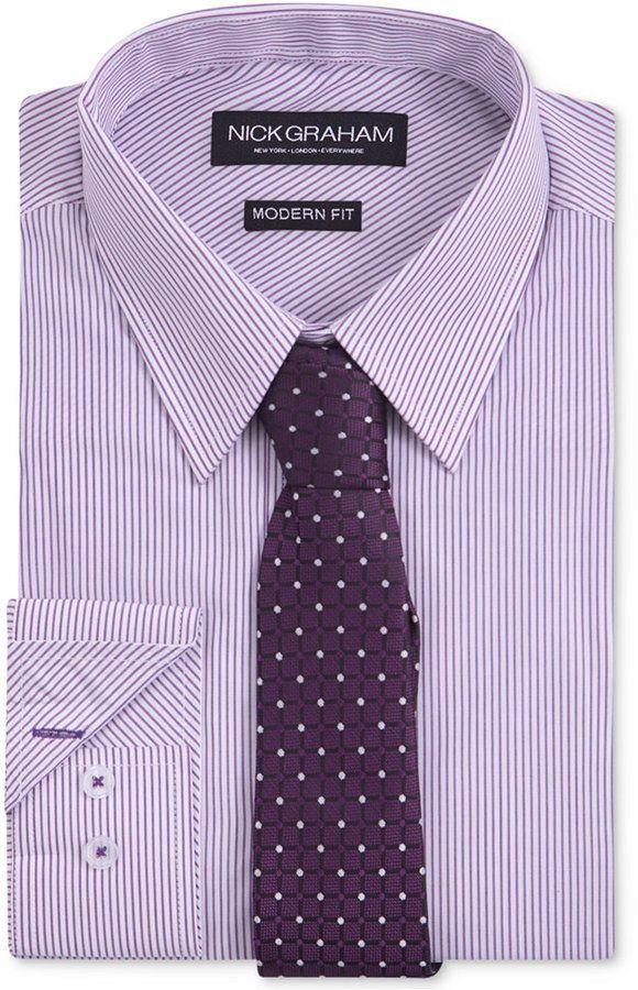 Nick Graham Men's Fitted Purple Dress Shirt Stripe With Grib Tie Set