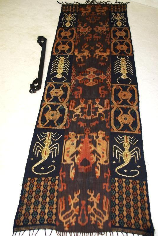 Handspun Hand woven Nassa Shells Sumba Hinggi Warp Ikat Tapestry Waeo Songket