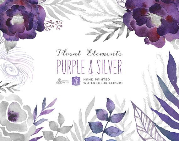 Viola e argento: 26 elementi floreali. Digital di OctopusArtis