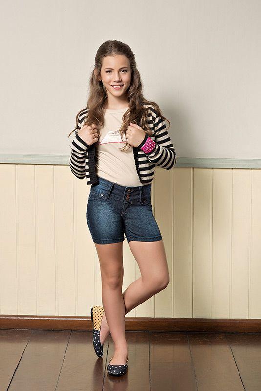 M2A Jeans | Fall Winter 2014 | Teen Collection | Outono Inverno 2014 | Coleção juvenil | peças | shorts jeans feminino; blusa rosa feminina; cardigã listrado feminino; jeans; demin.