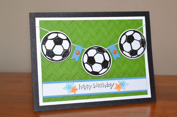 Kid birthday card using Great Sports and Banner framelits from Stampin Up
