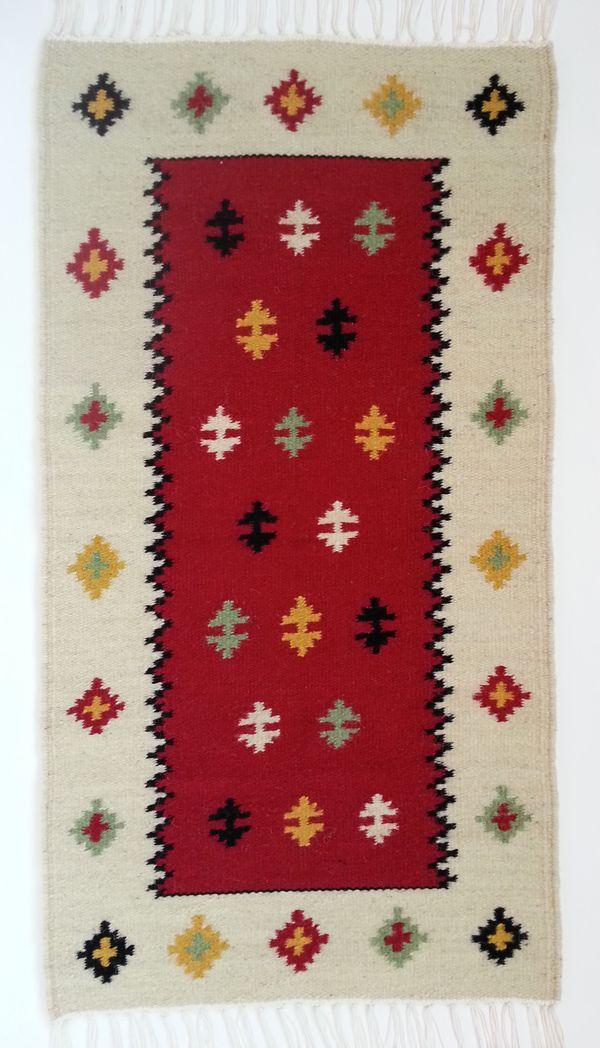 Buy now this handmade geometric wool area rug - authentic traditional Romanian folk art