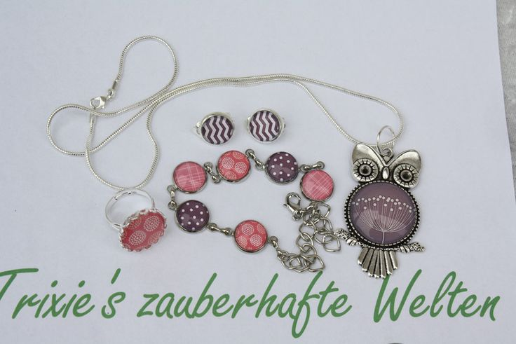 Armreife - Armband Kette Ring Ohrclips rosa lila Eule silber  - ein Designerstück von trixies-zauberhafte-Welten bei DaWanda