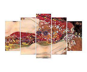 Composizione di 5 stampe su legno e carta amore e serpente d'acqua - 60x105 cm