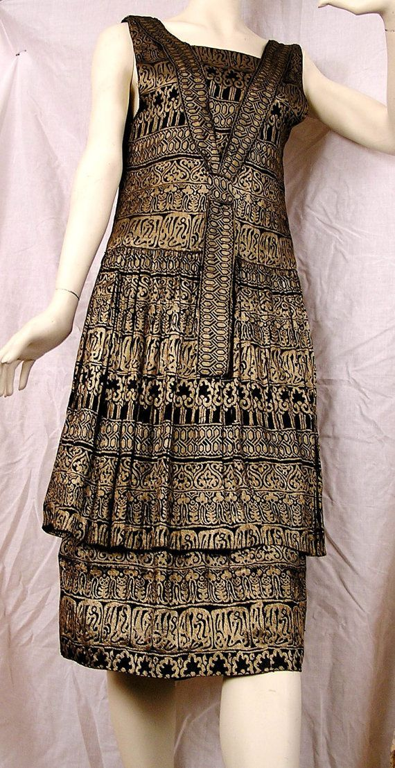 ~1920s Black and Gold Lame Dress, egyptian revival motifs~