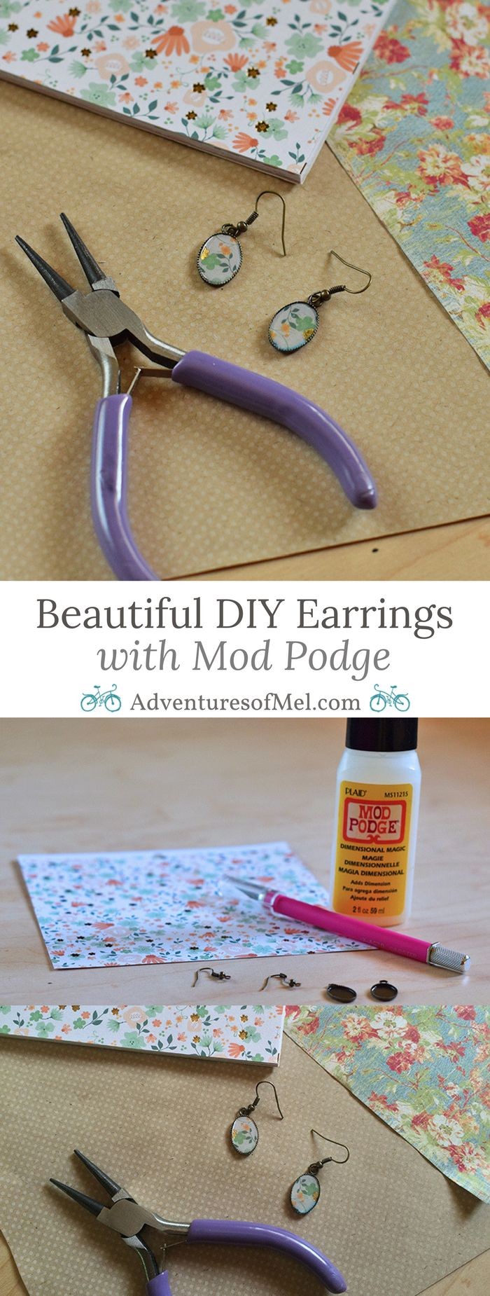 How to make scrapbook paper - How To Make Beautiful Diy Earrings With Mod Podge