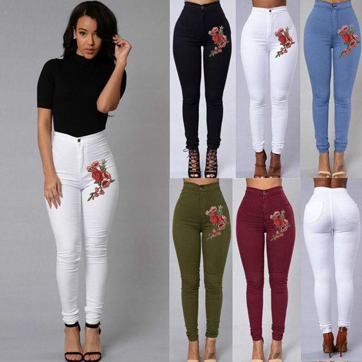 Women Pencil High Waist floral Jeans,Jeans leggings Embroidery Skinny Jeans ,flower Jean