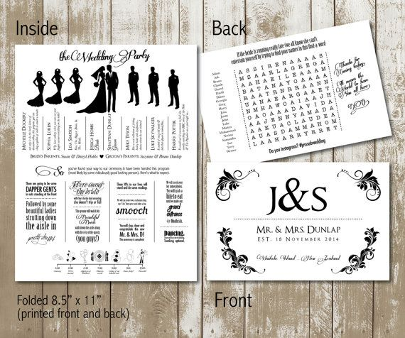 Funky Wedding Program With Wedding Party Silhouettes