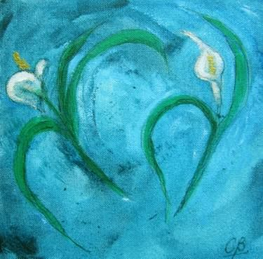 Dos Calas or Two Cala Lilies,  técnica mixta s/tela 20 x 20 cms. @copyright Carolina Busquets.