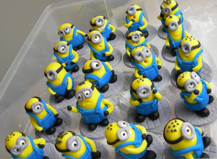 Minion Army Cupcake Toppers from www.sugarandspicecakes.co.nz