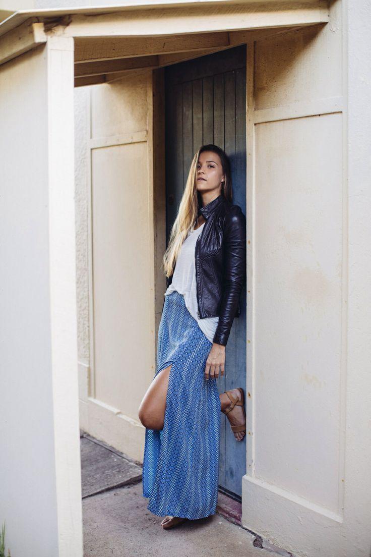 Autumn style - leather jacket, perfect essential singlet & Abyss split maxi skirt www.sundaythreds.com.au