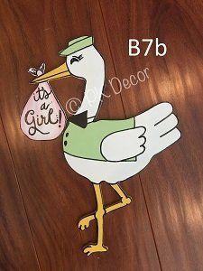 B7 - Stork Door Hanger -  It's A Boy Door Hanger - It's A Girl Door Hanger - Baby Announcement - Stork Hospital Door Hanger