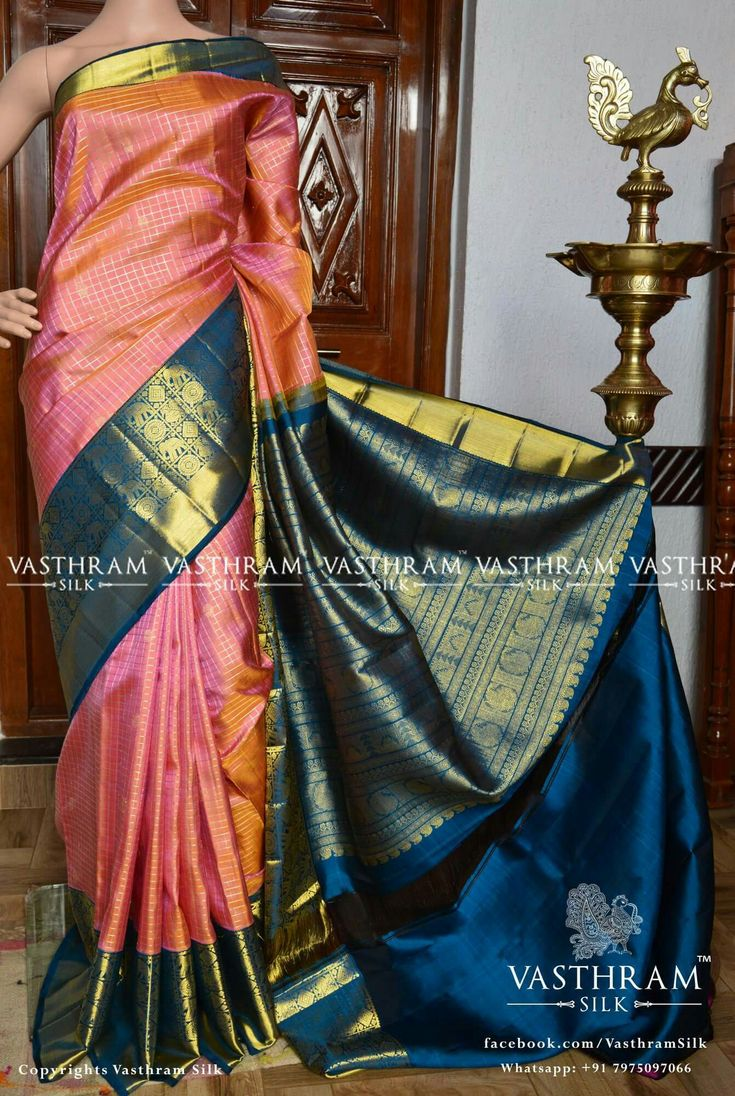 Pure kanchipuram silk  Cost:  29800 inr Whatsapp:  91 7019277192 8