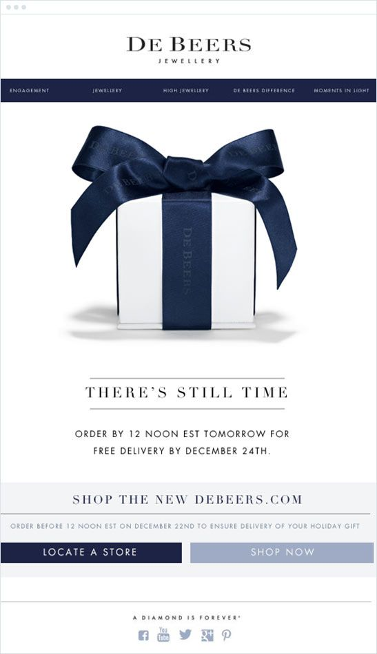 De Beers is known around the world for creating the finest diamond engagement rings, wedding rings, and other elegant diamond jewelry. This De Beers email campaign offered their customers one more day to buy in time for Christmas delivery, making holiday shopping a breeze.