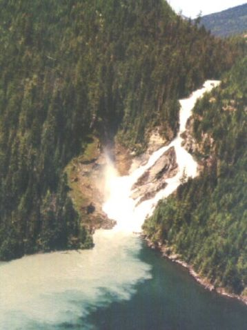 Little Niagra, Quesnel Lake by air. Boat access only. Spring freshet washing down glacial till.