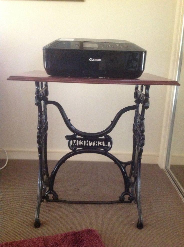 Printer table made from old sewing machine legs. www.gownsofeleganceandgrace.com.au