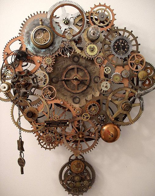 "This is a steampunk clock that I created for my ""New Artist"" Gallery showing at Gallerie 13 in Mechanicsburg, PA"