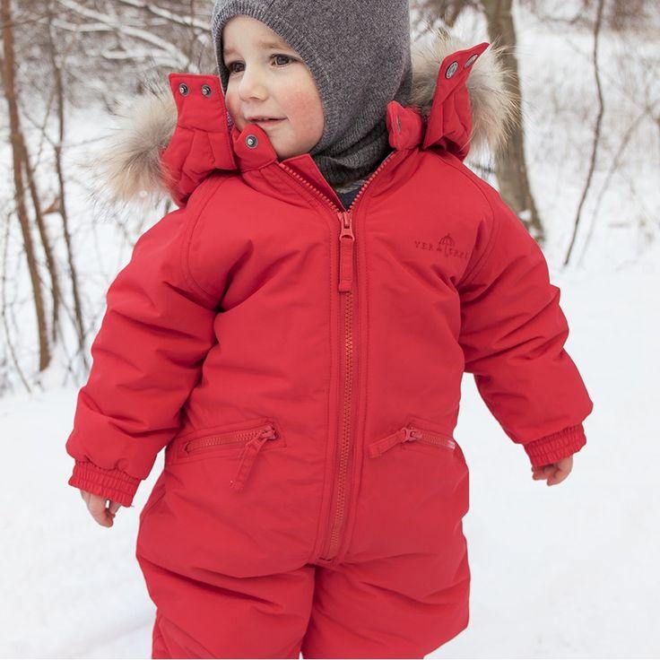 Ver de Terre cranberry snowsuit with fur trim.