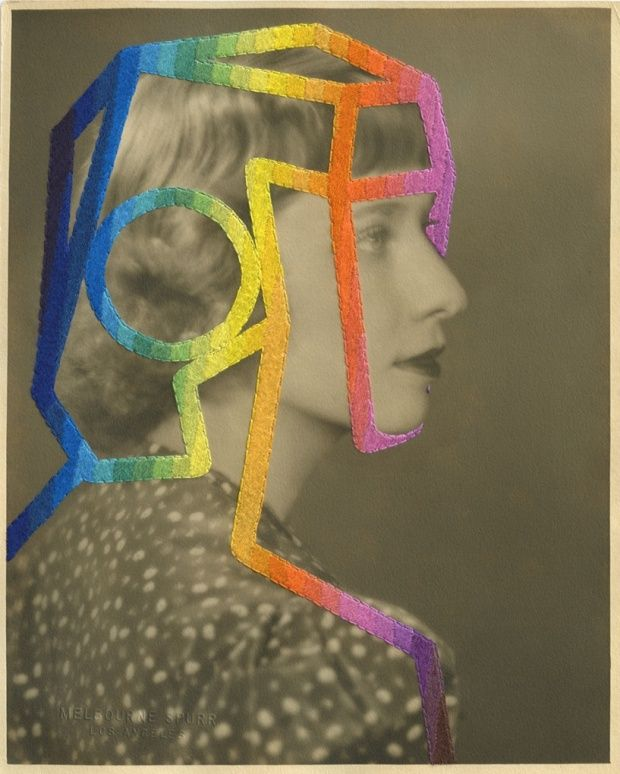 The Telepath, 2014, Julie Cockburn. A stitch in time: the dream-like world of embroidered vintage photography