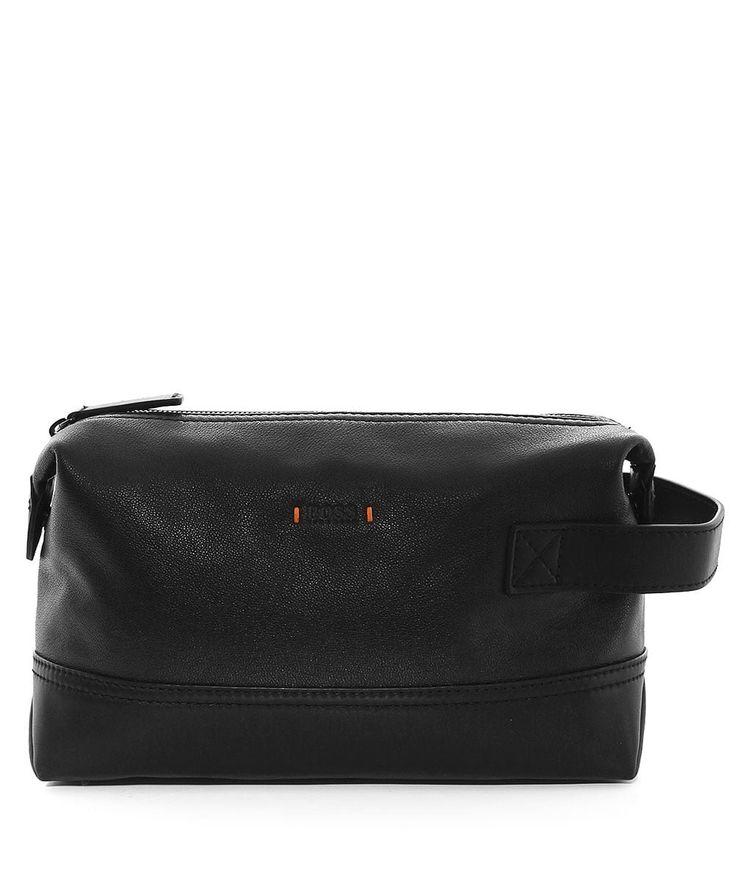 BOSS Orange Men's Leather Streetline Wash Bag Black One Size