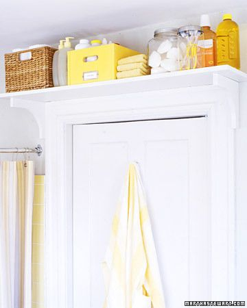 7. Put a book shelf above your door for extra storage. | 15 Life Hacks For Your Tiny Bathroom