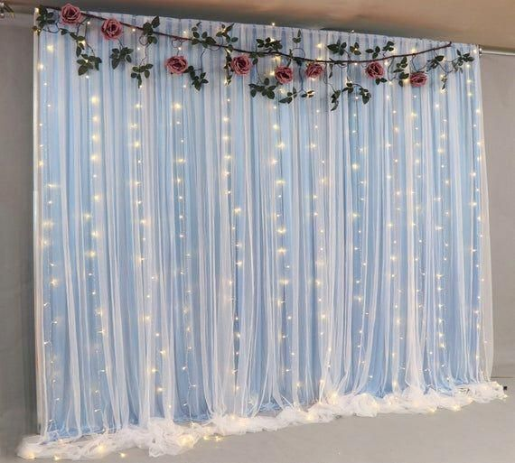 Blue Tulle Wedding Backdrop For Reception Romantic Full Pooling