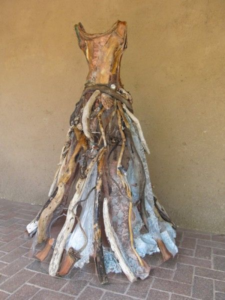 "Dress Sculpture ""Acquaintance of Kelp Forests"" at Selby Fleetwood Gallery - made from kelp, driftwood, vintage silk & lace // Christina Chalmers"