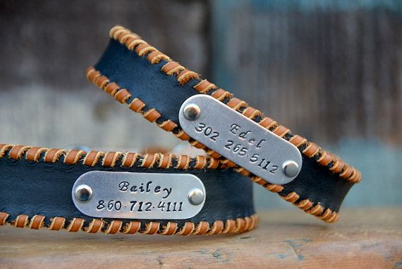 Personalized Leather Dog Collar with Hand-stamped Name Plate ID Tag Chino Black Boho Bohemian Southwestern Western Leather Dog Collar